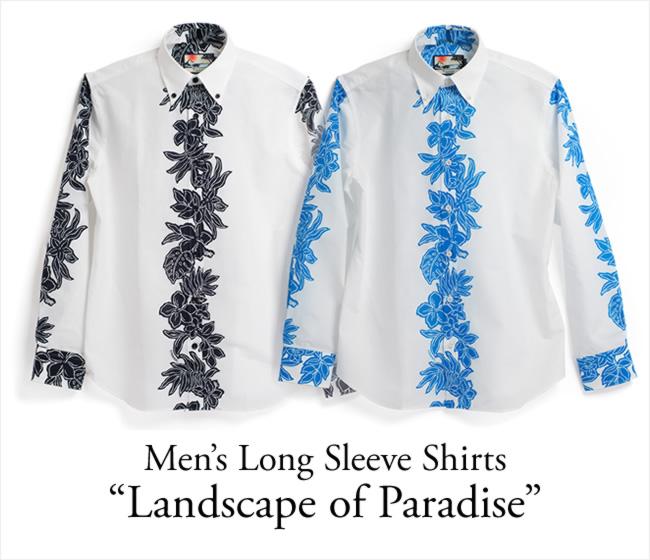 アロハシャツ メンズ(男性用)「New rize Hibiscus」全2色 長袖 XL3L 大きいサイズあり 沖縄結婚式にアロハシャツ