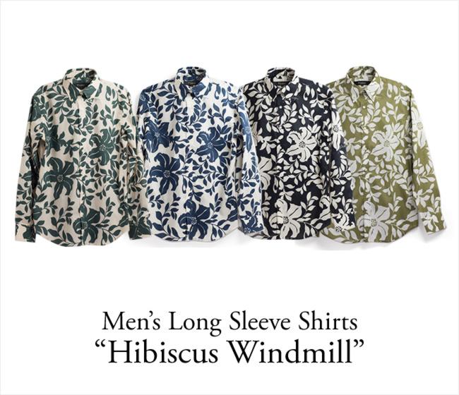 アロハシャツ メンズ(男性用)「Hibiscus Windmill」全4色 長袖 XL 大きいサイズあり 沖縄結婚式にアロハシャツ