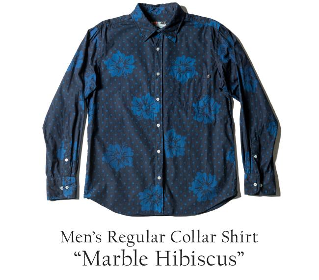 アロハシャツ 琉球藍染 メンズ(男性用)「Marble Hibiscus」全1色 長袖 MLXL 沖縄結婚式にアロハシャツ