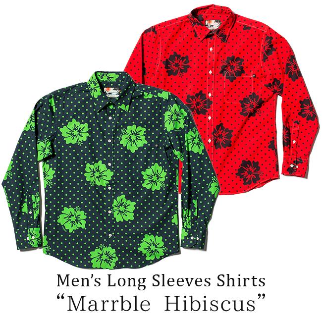 アロハシャツ メンズ(男性用) レギュラーカラー「Marrble Hibiscus」全2色 長袖 MLXL 沖縄結婚式にアロハシャツ