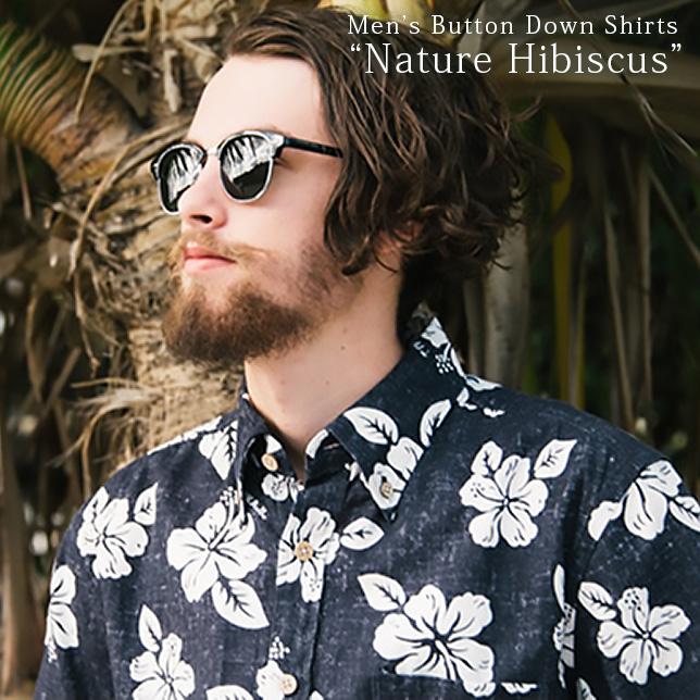 アロハシャツ メンズ(男性用)「Nature Hibiscus」全2色 半袖 3L 大きいサイズあり 沖縄結婚式にアロハシャツ