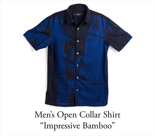 アロハシャツ メンズ(男性用)「Impressive Bamboo」琉球藍染 半袖 沖縄結婚式にアロハシャツ