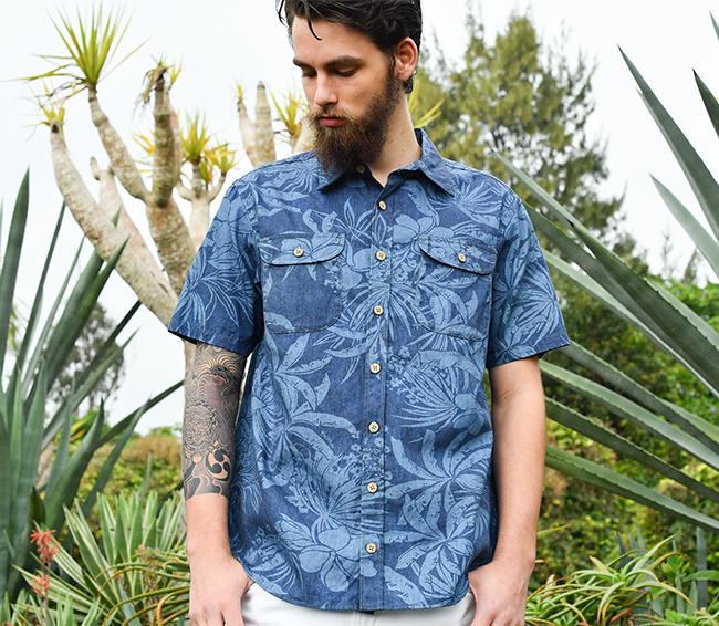 アロハシャツ メンズ(男性用)「Junglist blue」全4色 半袖 3L 大きいサイズあり 沖縄結婚式にアロハシャツ