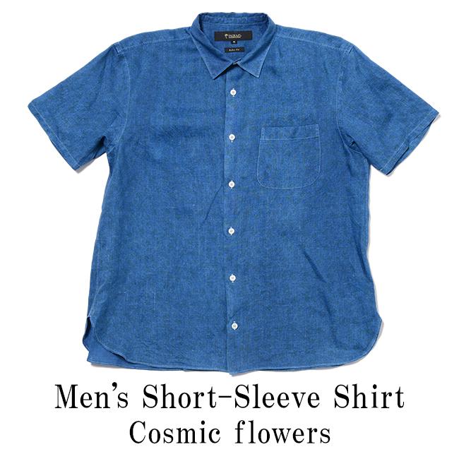 アロハシャツ メンズ(男性用)「Cosmic flowers」琉球藍染 半袖 沖縄結婚式にアロハシャツ