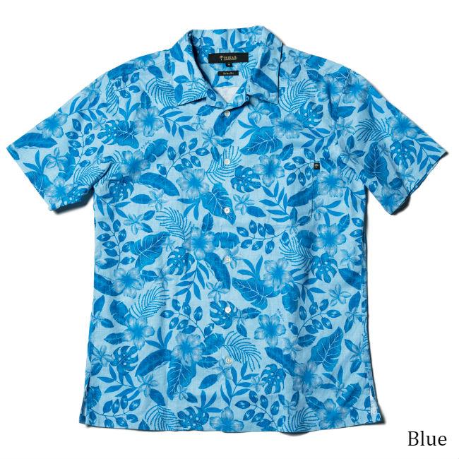 アロハオープンカラーシャツ メンズ(男性用)「Misty Flowers」全3色 半袖 沖縄結婚式にアロハシャツ