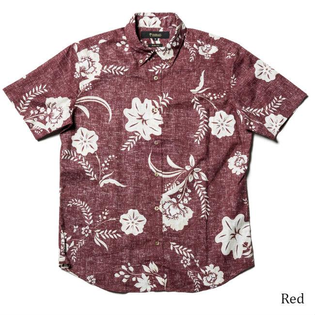 アロハボタンダウンカラーシャツ メンズ(男性用)「Aphelandra」全3色 半袖 沖縄結婚式にアロハシャツ