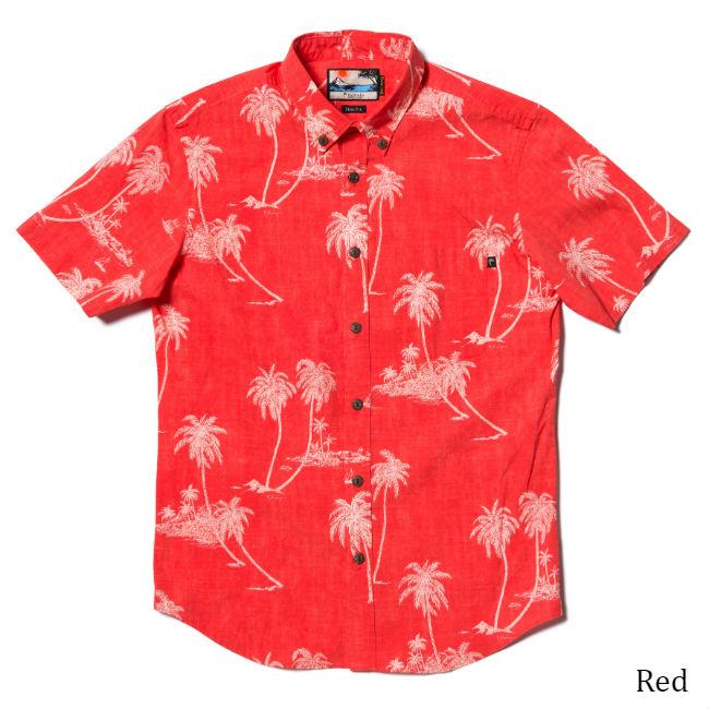 アロハシャツ メンズ(男性用)「Palm tree Island」全4色 半袖 沖縄結婚式にアロハシャツ