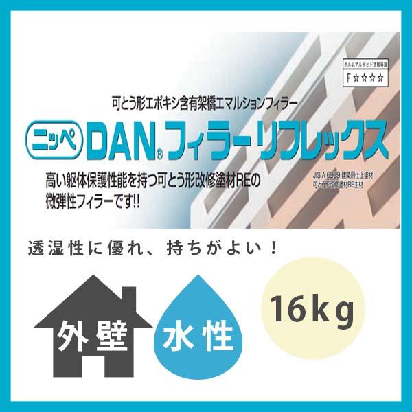 【クーポン配布中】DANフィラーリフレックス 白 16kg(約25~50平米分) 日本ペイント ニッペ 水性 外壁用 下塗材