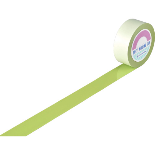 緑十字 ガードテープ(ラインテープ) 若草色 50mm幅×100m 屋内用(148066)