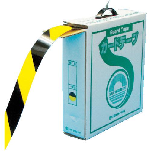 緑十字 ラインテープ(ガードテープ) 黄/黒 再剥離タイプ 50mm幅×100m(149036)