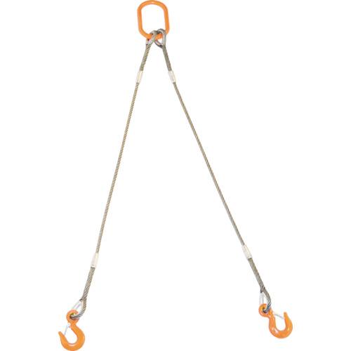 TRUSCO 2本吊りWスリング フック付き 6mmX2m(GRE2P6S2)