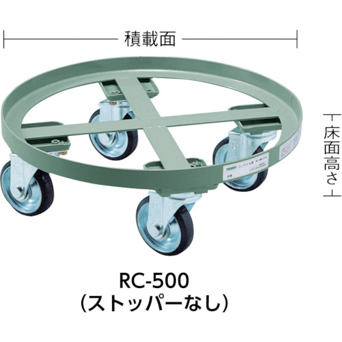 TRUSCO 円形台車 全周ガイド型 荷重500kg 台寸Φ610 S付(RC500S)
