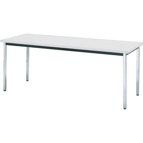 TRUSCO 会議用テーブル 1500X750XH700 角脚 下棚無 ホワイト(TD1575W)
