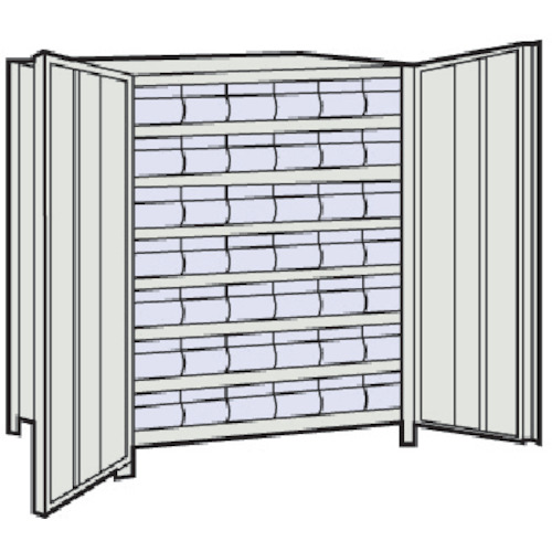 TRUSCO 軽量棚扉付 875X300X1200樹脂引出透明小X42 ネオグレ(43VT808C7)