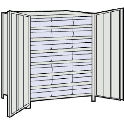 TRUSCO 軽量棚扉付 875X300X1200樹脂引出透明大X21 ネオグレ(43VT808D7)