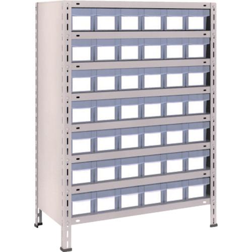 TRUSCO 軽量棚 875X450X1200 樹脂引出透明 小X42 ネオグレ(43X808C7)