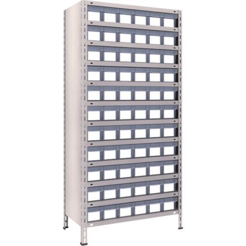TRUSCO 軽量棚 875X450X1800 樹脂引出透明 小X66 ネオグレ(63X812C11)