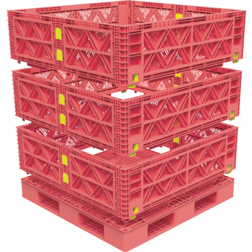 【激安大特価!】  TRUSCO マルチステージコンテナ メッシュ 3段 1100X1100 赤(TMSCM1111R):ペイントアンドツール-DIY・工具