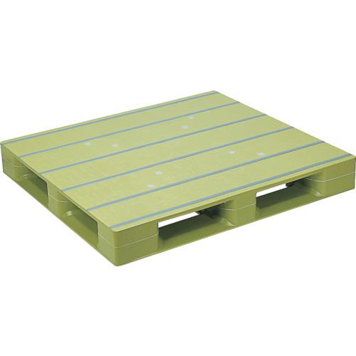 NPC プラスチックパレットZFD-1111E 片面四方差し ライトグリーン(ZFD1111ELG)*代引き不可、個人宅配送不可
