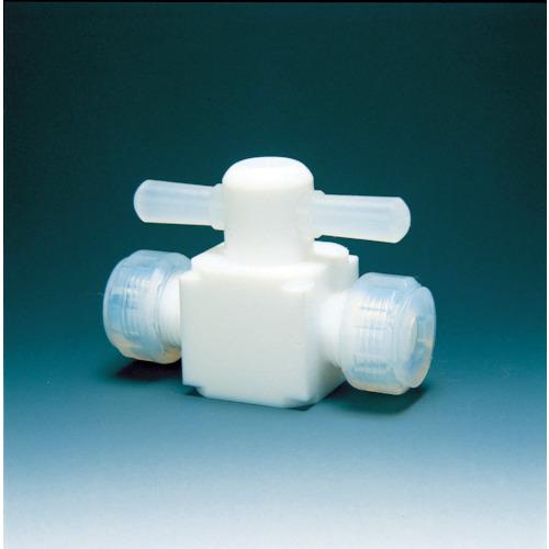 フロンケミカル フッ素樹脂(PTFE)二方バルブ圧入型 8φ(NR0003002)