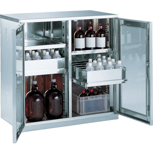 TRUSCO 耐震薬品庫 ガラス両開型 棚スライド式 900X500XH900(SW)