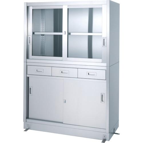 シンコー ステンレス保管庫引出付上部ガラス戸下部ステンレス戸ベース仕様(VDG15045)