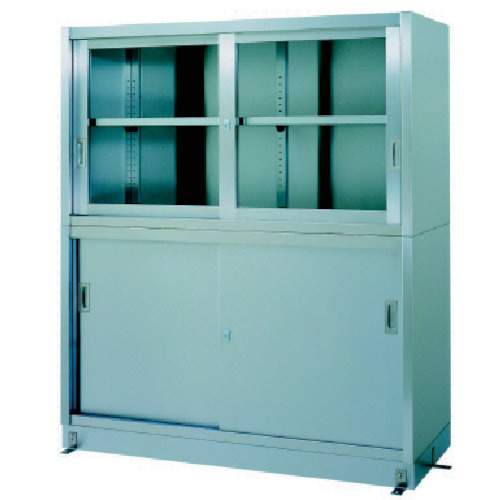 シンコー ステンレス保管庫上部ガラス戸下部ステンレス戸ベース仕様(VG15045)