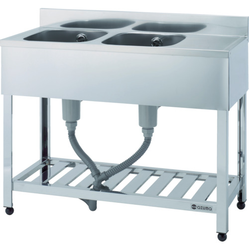 アズマ 二槽水切シンク右水槽 1200×450×800(KPM21200R)代引き不可・個人宅配送不可