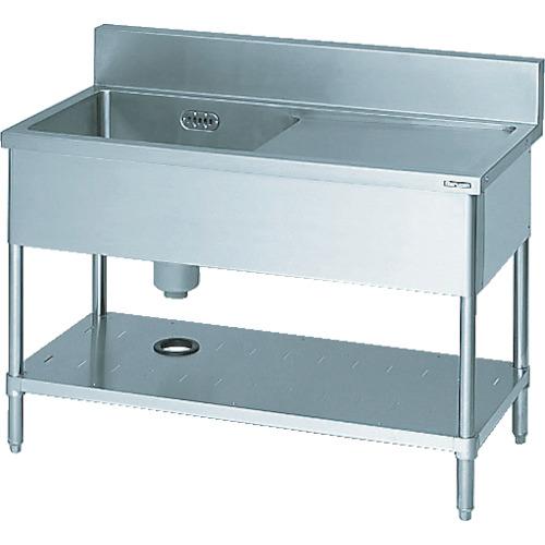 マルゼン 一槽水切付シンク1200×450×800右側水切り(ホース付)(BSMI124R)