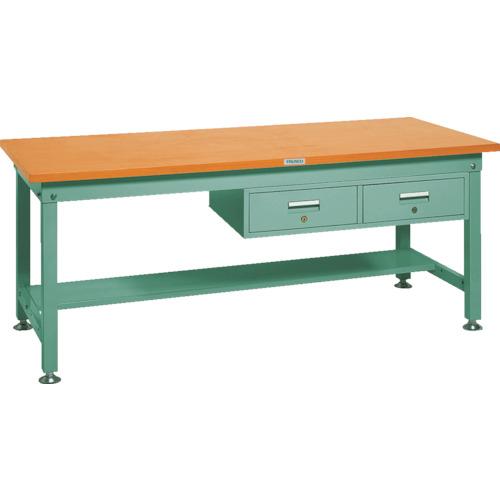 気質アップ TRUSCO SHW型作業台 1800X900XH740 2列引出付 緑(SHW1809FL2):ペイントアンドツール-DIY・工具