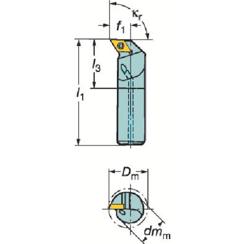 サンドビック コロターン111 ポジチップ用ボーリングバイト(F12QSDUPR07ER)