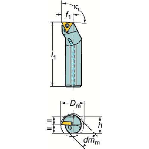 サンドビック コロターン107 ポジチップ用超硬防振ボーリングバイト(F12QSTFCR09R)