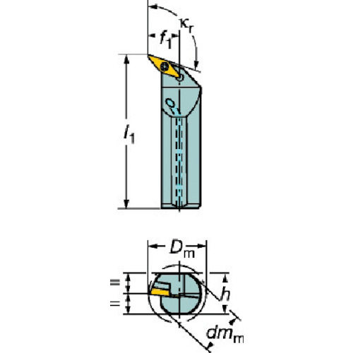 サンドビック コロターン107 ポジチップ用ボーリングバイト(A20SSVQBR11E)