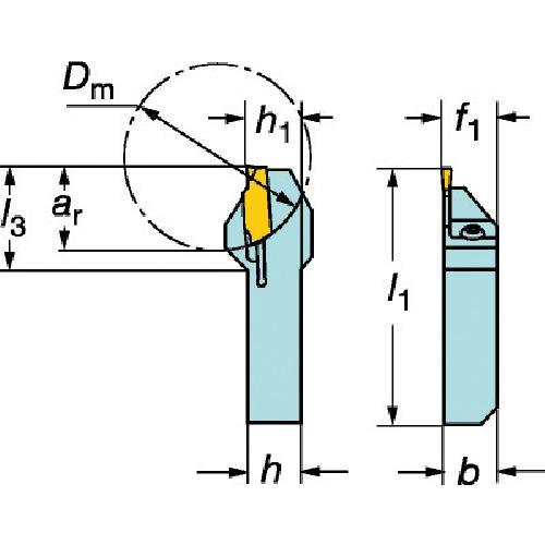サンドビック QSホールディングシステム コロカット1・2用突切り・溝入れバイト(QSRF123E171616B)