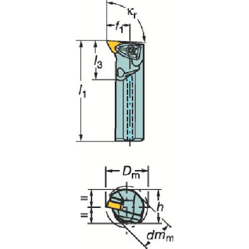 サンドビック コロターンRC ネガチップ用ボーリングバイト(A25TDDUNR11)