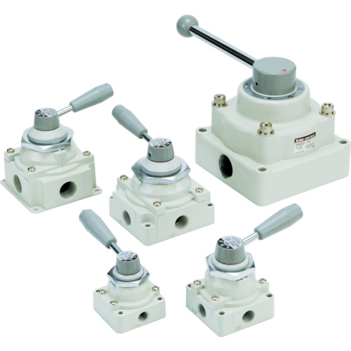 SMC ハンドバルブ(3ポジション/クローズドセンタ)(VH40003)