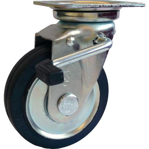シシク スタンダードプレスキャスター ゴム車輪 自在ストッパー付 250径(WJB250)