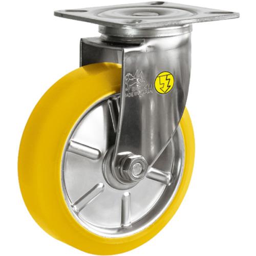 シシク ステンレスキャスター 制電性ウレタン車輪付自在(SUNJ150SEUW)