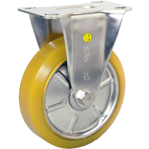 シシク ステンレスキャスター 制電性ウレタン車輪付固定(SUNK125SEUW)