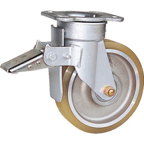 スエヒロ リボキャスターブレーキ付 ウレタン車輪 Φ200(TSHB8ATR)