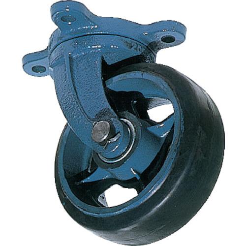 京町 鋳物製自在金具付ゴム車輪(幅広)(AHJ250X65)