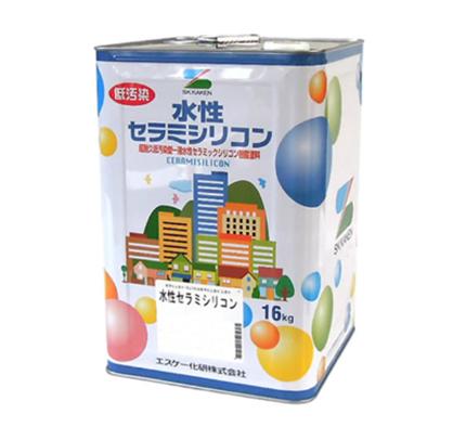 外壁用 水性セラミシリコン 黒 艶有 16kg(缶) 【エスケー化研株式会社】