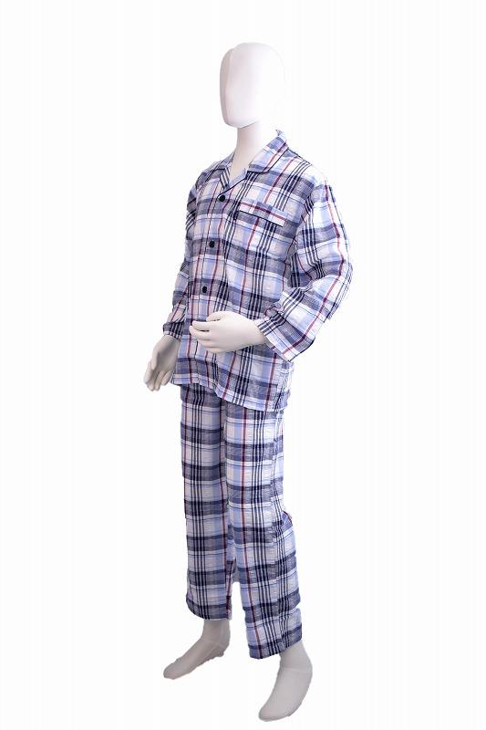 襟付きサッカー地のパジャマです 春夏向き 混紡 メンズナイトウェア 新作 人気 紺 SALE 襟付きパジャマ