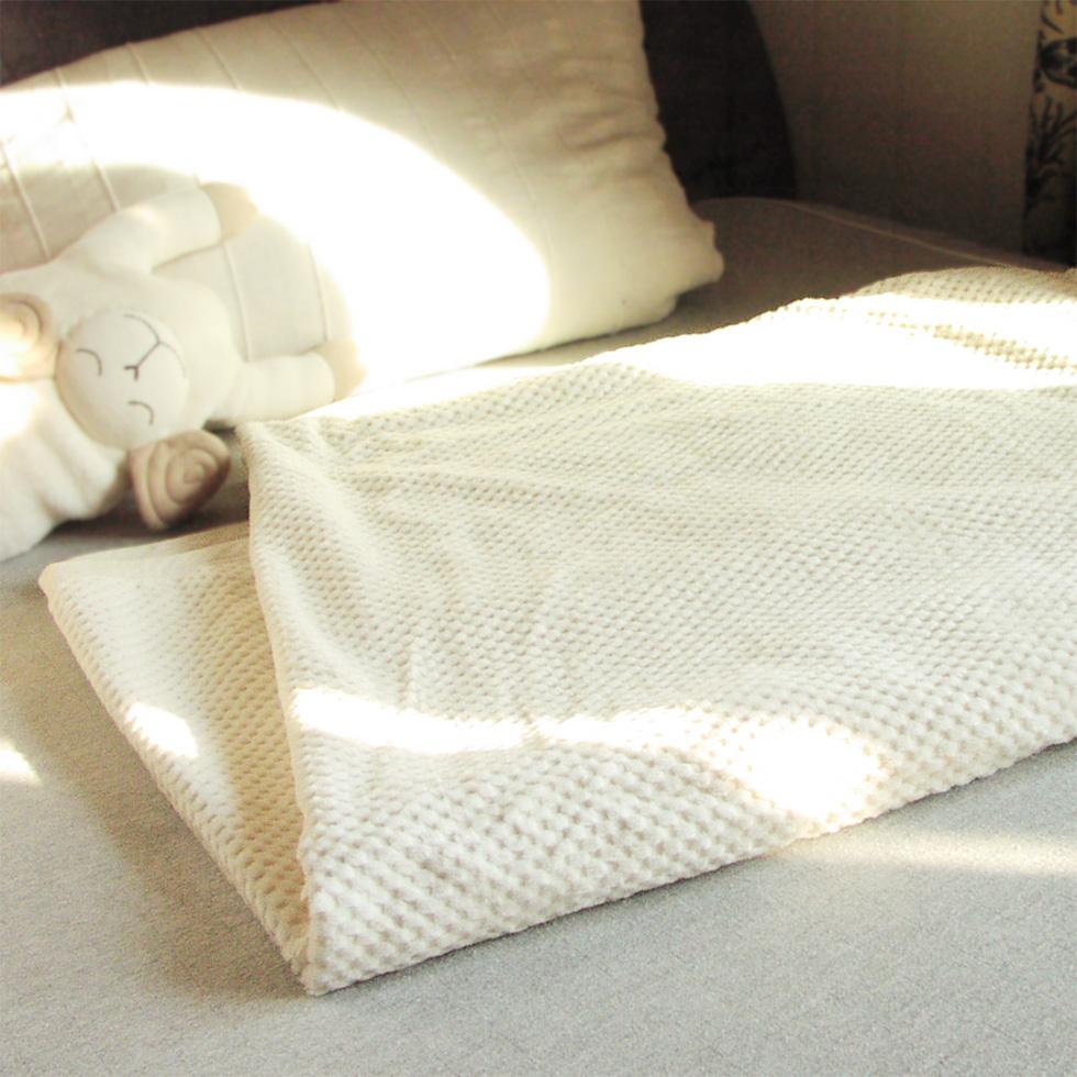 市松シール織り綿毛布(シングル用) 優しい肌触り毛羽立ちも少ない高級ブランケット オーガニックコットン プリスティン【あす楽対応】