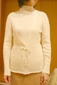 裾かぎ編みがかわいい柔らか綿のリブニットカーディガン オーガニックコットン プリスティン PRISTINE【あす楽対応】