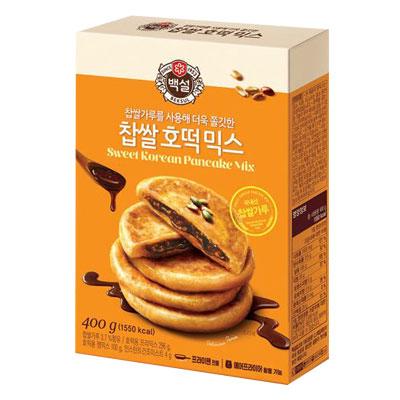 \韓国屋台で人気のおやつが簡単に家庭で作れます/  スーパーSALE15%OFF『CJ』白雪 餅米ホットクミックス(400g・約8枚分) ホットック ホットッ おやつ お餅 韓国お菓子 韓国食品マラソン ポイントアップ祭