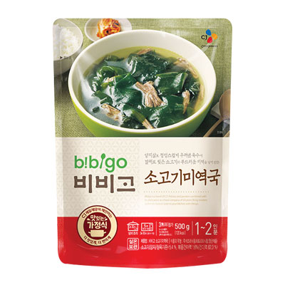 『CJ』bibigo韓飯牛肉ミヨックッ|牛肉ワカメスープ (500g・辛さ0) ビビゴ レトルト 韓国スープ 韓国鍋 韓国料理 チゲ鍋 韓国食品 \辛くないあっさりしたワカメと牛肉のスープ/マラソン ポイントアップ祭 スーパーセール
