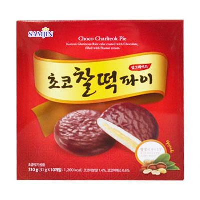 \もちもちお餅の中にピーナッツの香ばしさがアップグレード!/  『SAMJIN』チョコ餅パイ・アップグレード ピーナッツクリーム(31gx10個) 餅チョコパイ パン おやつ 韓国お菓子 スーパーセール ポイントアップ祭 マラソン