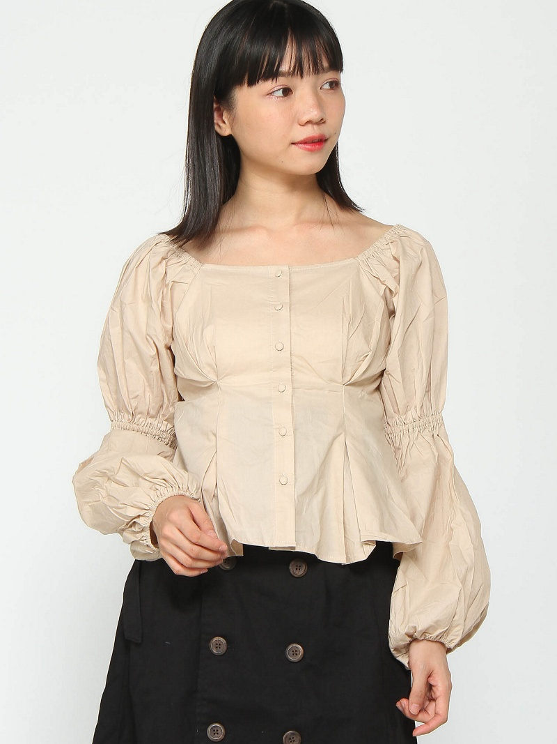 70d53aaf PAL GROUP OUTLET: [Rakuten BRAND AVENUE] square neck sleeve browsing BL  who's who Chico pal group outlet shirt / blouse | Rakuten Global Market