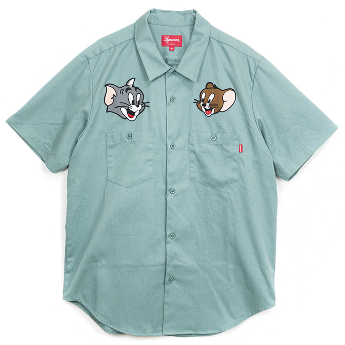 2017 Aw Supreme Tom Jerry Work Shirt Pale Green